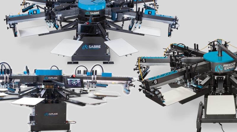 Автоматические станки для шелкографии на футболках Workhorse: Freedom, Cutlas и Sabre.