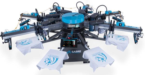 Автоматический станок для шелкографии на футболках Sabre