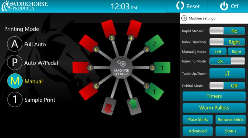 Сенсорная панель управления станка для шелкографии на футболках Workhorse