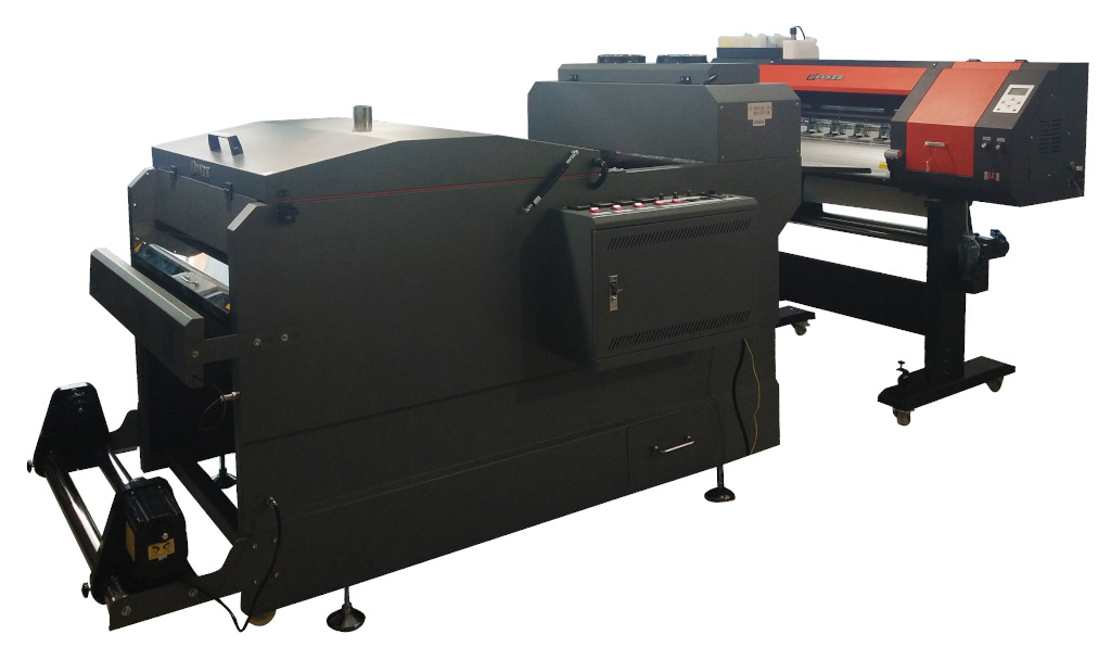 Широкоформатный струйный принтер для рулонной печати термотрансферов с установкой для нанесения и подсушивания термотрансферного порошка